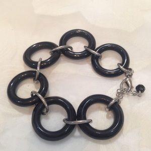 Vintage Silver And Black Lucite Ring Bracelet